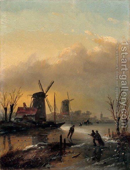 Skating at sunset by Jan Jacob Coenraad Spohler - Reproduction Oil Painting