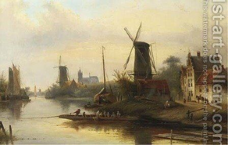 A riverlandscape with a windmill by Jan Jacob Coenraad Spohler - Reproduction Oil Painting