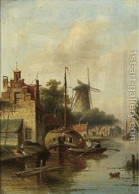 A village along a river in summer by Jan Jacob Coenraad Spohler - Reproduction Oil Painting