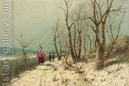 An afternoon stroll in the snow by Jan Jacob Lodewijk Ten Kate - Reproduction Oil Painting
