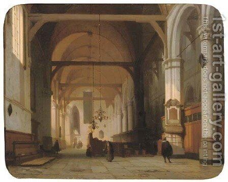 A sunlit church interior by Jan Jacob Schenkel - Reproduction Oil Painting