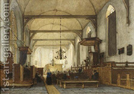The interior of the Bakenesse church, Haarlem by Jan Jacob Schenkel - Reproduction Oil Painting