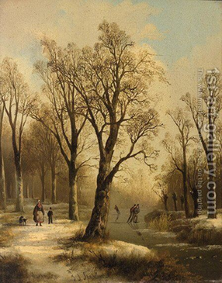 A forest in winter with skaters on a frozen waterway by Jan Jacob Spohler - Reproduction Oil Painting