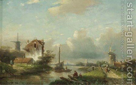 A river landscape in summer by Jan Jacob Spohler - Reproduction Oil Painting