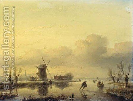 A winter landscape with figures on a frozen waterway by Jan Jacob Spohler - Reproduction Oil Painting