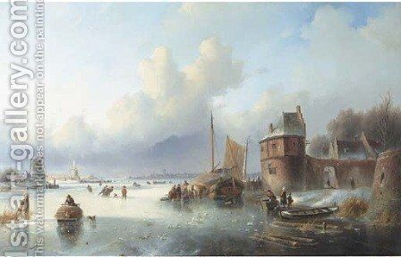 A winter landscape with numerous skaters on a frozen waterway, Dordrecht in the distance by Jan Jacob Spohler - Reproduction Oil Painting