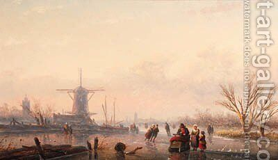 A winter landscape with skaters and horse-drawn sledge by windmill on frozen river by Jan Jacob Spohler - Reproduction Oil Painting