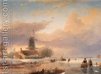 A winter landscape with skaters near a koek-en-zopie by Jan Jacob Spohler - Reproduction Oil Painting