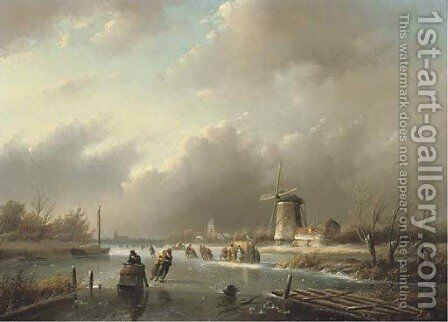 Ice-skating on a frozen river in winter by Jan Jacob Spohler - Reproduction Oil Painting