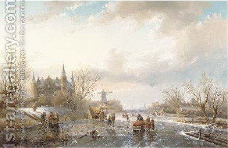 Skaters and figures by a koek en zopie on a sunny day, a castle nearby by Jan Jacob Spohler - Reproduction Oil Painting