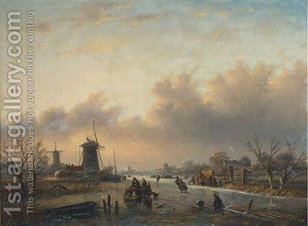 Skaters on a Dutch waterway before windmills at dusk by Jan Jacob Spohler - Reproduction Oil Painting