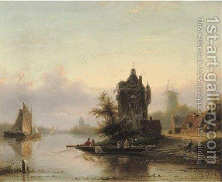 Taking the ferry on a summer's day by Jan Jacob Spohler - Reproduction Oil Painting