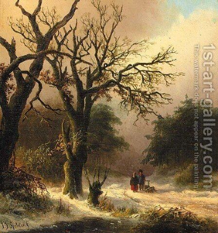 Travellers in a winter forest by Jan Jacob Spohler - Reproduction Oil Painting