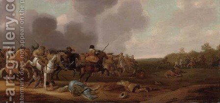 A cavalry skirmish by Jan Jacobsz. Van Der Stoffe - Reproduction Oil Painting