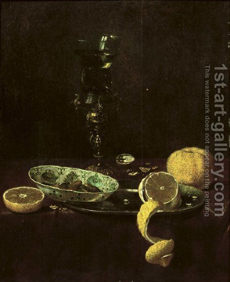 A 'kraak' porcelain bowl resting on a pewter plate with a peeled lemon, an orange and nuts near a 'roemer' on a gilt stand by Jan III van de Velde - Reproduction Oil Painting