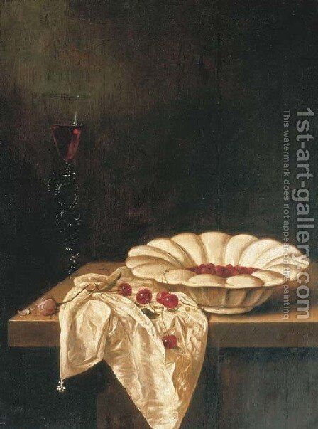 Wild strawberries in a glazed earthenware bowl with a facon de Venise of red wine, a pink rose and cherries on a partially draped wooden ledge by Jan Jansz. Van De Velde - Reproduction Oil Painting