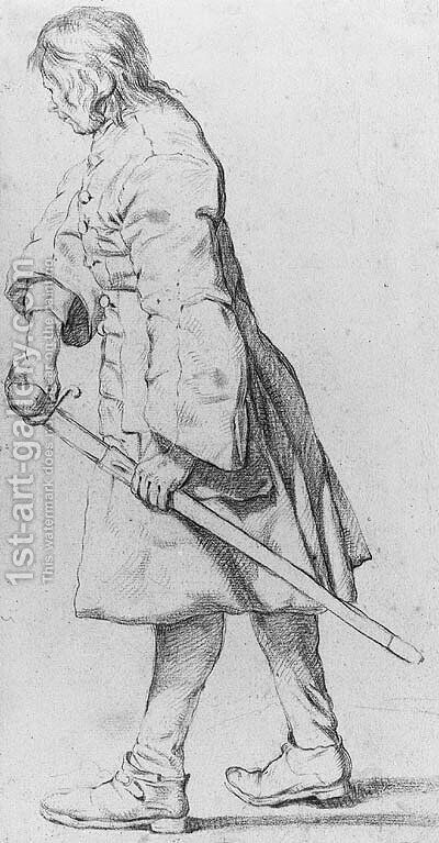 A Soldier drawing his Sable by Jan Josef, the Elder Horemans - Reproduction Oil Painting