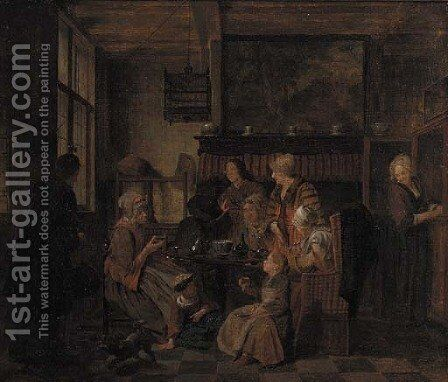 A family drinking tea at table in an interior by Jan Jozef, the Younger Horemans - Reproduction Oil Painting