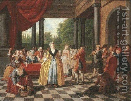 Elegant company dancing and feasting on a terrace by Jan Jozef, the Younger Horemans - Reproduction Oil Painting