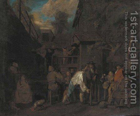 Peasants merrymaking outside a tavern by Jan Jozef, the Younger Horemans - Reproduction Oil Painting