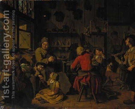 The interior of a cobbler's shop by Jan Jozef, the Younger Horemans - Reproduction Oil Painting