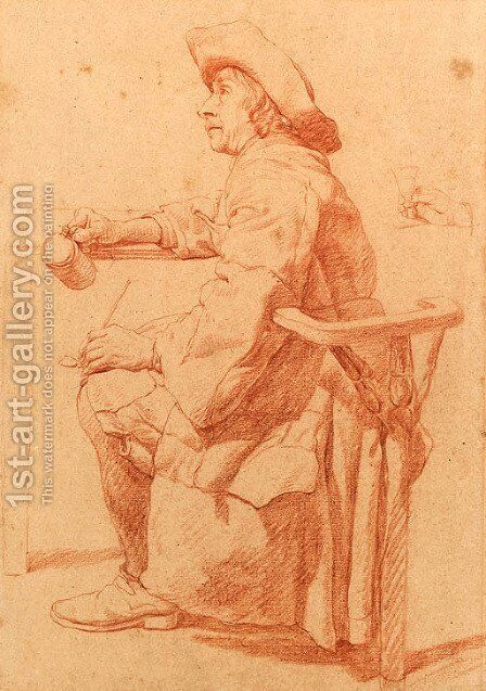 A Man seated at a Table holding a Pul and a Pipe, a subsidiary study of his hand holding a glass by Jan Jozef, the Younger Horemans - Reproduction Oil Painting