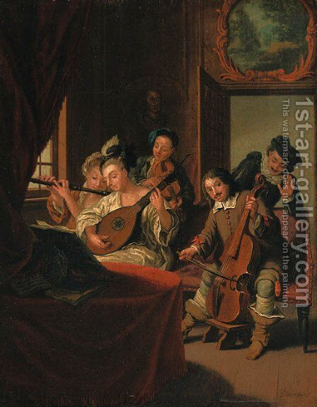 Elegant figures in historical costume, at a music recital by Jan Jozef, the Younger Horemans - Reproduction Oil Painting