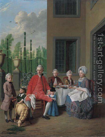 Group portrait of the van den Bosch family, dining by a house, a topiary garden beyond by Jan Jozef, the Younger Horemans - Reproduction Oil Painting