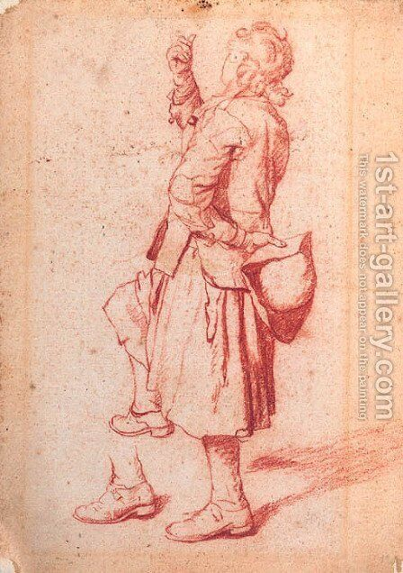 A man with one knee raised, holding his hat behind his back by Jan Josef, the Elder Horemans - Reproduction Oil Painting