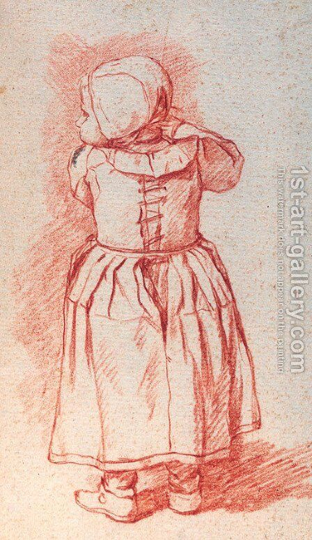 A study of a small girl seen from behind by Jan Josef, the Elder Horemans - Reproduction Oil Painting