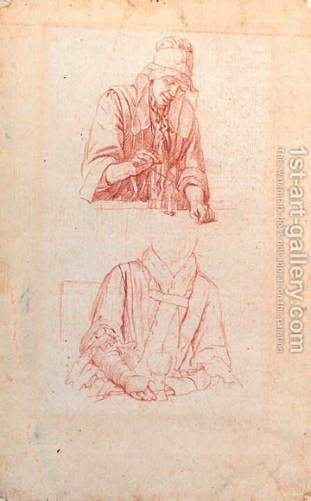 Studies of a woman weighing and of a woman seated holding a roemer by Jan Josef, the Elder Horemans - Reproduction Oil Painting