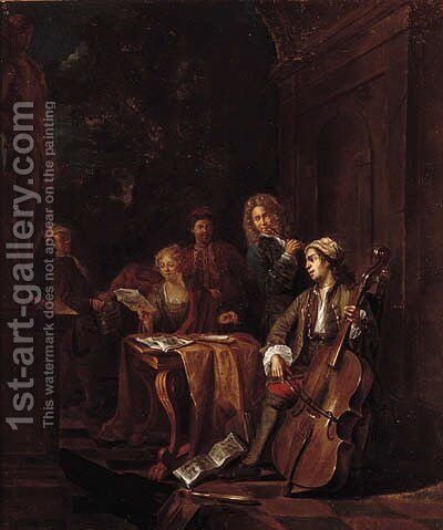 Elegant company making music on a terrace by Jan Josef, the Elder Horemans - Reproduction Oil Painting