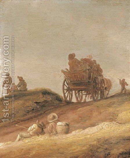A dune landscape with peasants in a horsedrawn cart and travellers resting on a path by Jan van Goyen - Reproduction Oil Painting