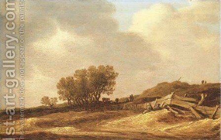 A landscape with sand dunes and figures leaning on a fence by Jan van Goyen - Reproduction Oil Painting