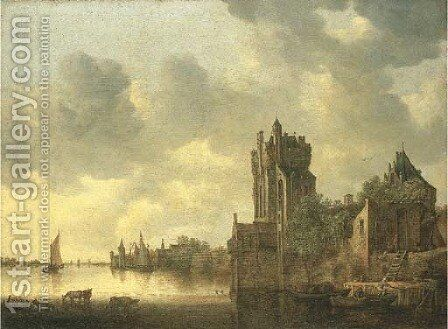 A river landscape with cows watering by a fortified tower by Jan van Goyen - Reproduction Oil Painting