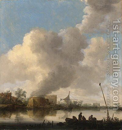 A river landscape with fishermen in a rowing boat, a lime kilm, farmhouses and a church beyond by Jan van Goyen - Reproduction Oil Painting