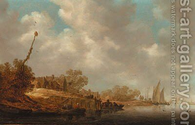 A river landscape with fishermen in boats and a ferry by a village jetty by Jan van Goyen - Reproduction Oil Painting