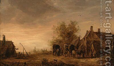 A view of the village of Renkum, with travellers in wagons resting on the roadside by an inn, the church beyond by Jan van Goyen - Reproduction Oil Painting