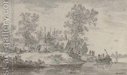 A village on the banks of a canal with cattle and fishermen by Jan van Goyen - Reproduction Oil Painting