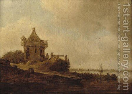 A watchtower at the mouth of an estuary by Jan van Goyen - Reproduction Oil Painting