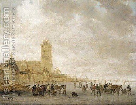 A winter landscape with skaters on the Maas in Dordrecht by Jan van Goyen - Reproduction Oil Painting