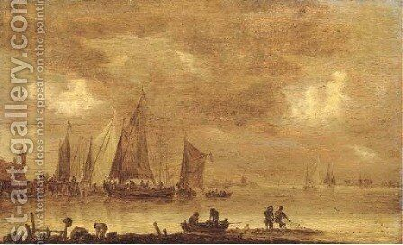 An estuarine landscape with fishermen drawing in nets in the foreground, boats by a jetty beyond by Jan van Goyen - Reproduction Oil Painting