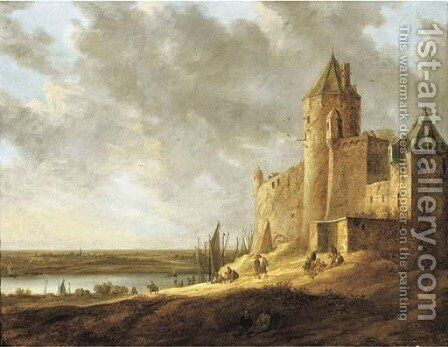 An extensive river landscape with peasants by a castle by Jan van Goyen - Reproduction Oil Painting