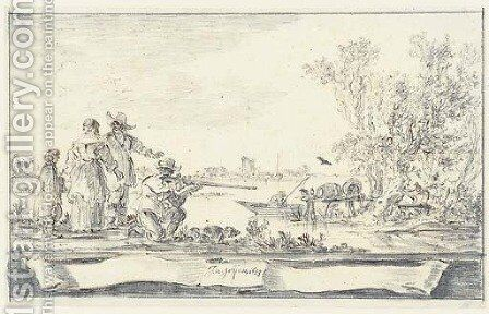Elegant company shooting birds in an estuary Design for a title-page by Jan van Goyen - Reproduction Oil Painting