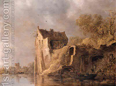 Fishermen in a rowingboat by a landing stage near a ruined castle on a cloudy day by Jan van Goyen - Reproduction Oil Painting