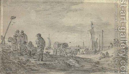 Fishermen on a beach, sailing boats seen beyond by Jan van Goyen - Reproduction Oil Painting