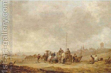 Fishermen with their catch and townsfolk on the beach at Katwijk aan Zee by Jan van Goyen - Reproduction Oil Painting