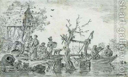 Villagers by a dovecote at a ferry station by Jan van Goyen - Reproduction Oil Painting