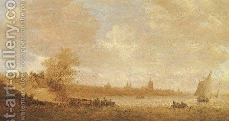 A cattle ferry and other shipping on the river Rhine, with the city of Arnhem beyond by Jan van Goyen - Reproduction Oil Painting