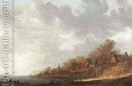 A village at the banks of a river by Jan van Goyen - Reproduction Oil Painting